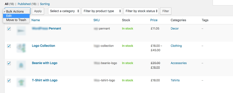 Bulk edit products
