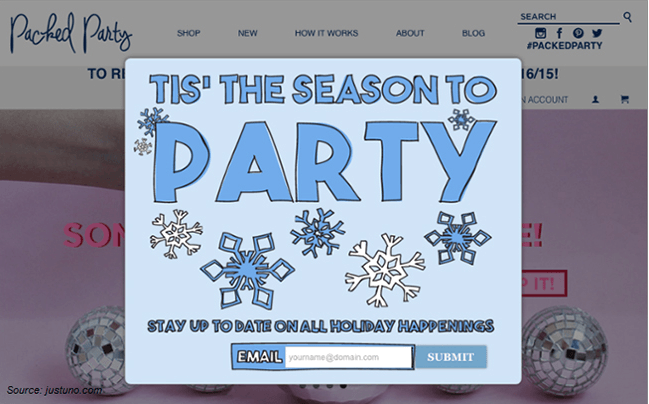 Holiday pop-up example