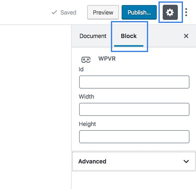 WPVR block settings