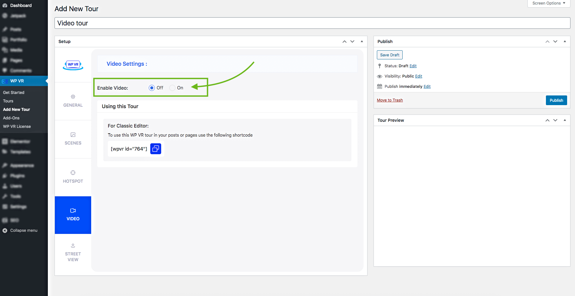Video settings page selected