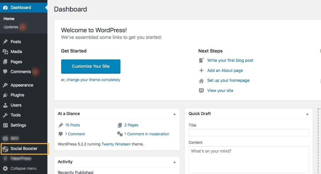 Plugin added on WP dashboard after install and activate social booster