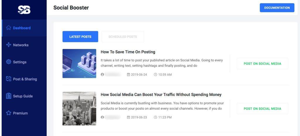 Social Booster Dashboard