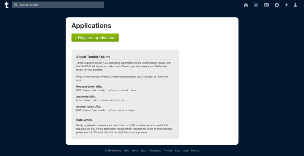 Tumblr register application