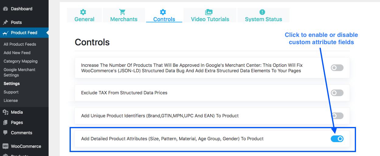 Enable custom attribute fields
