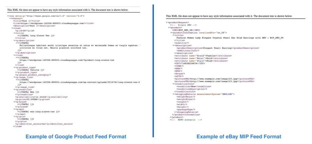 Compare Google and eBay feed format