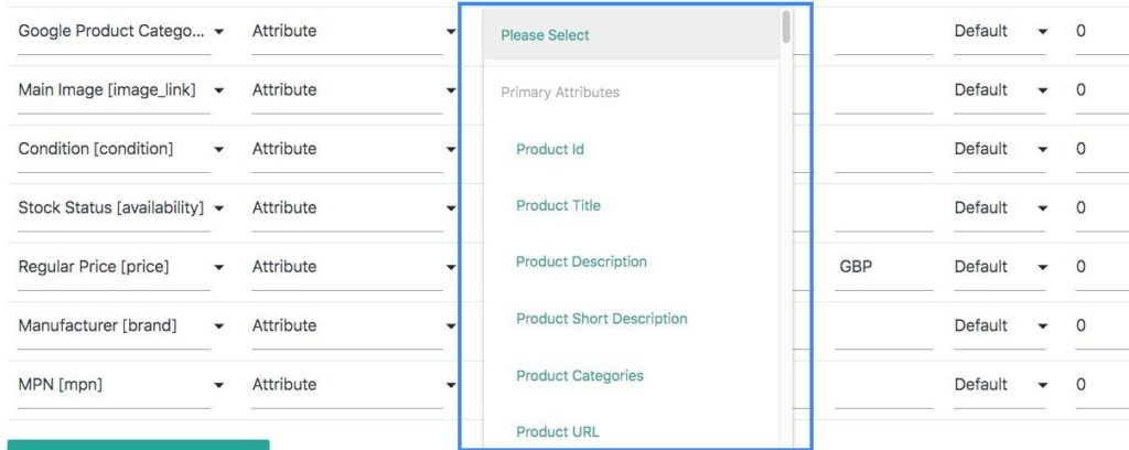 Google Product Categories Attribute values