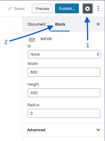 WPVR block settings
