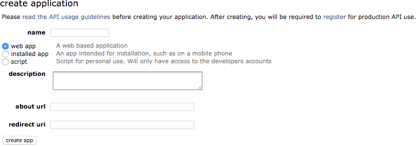 Create application form