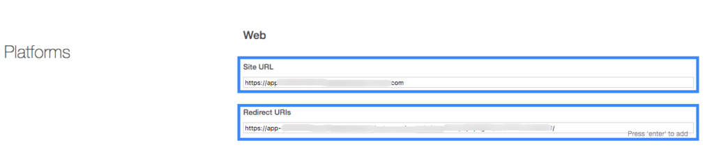 Site URL and Redirect URL field.