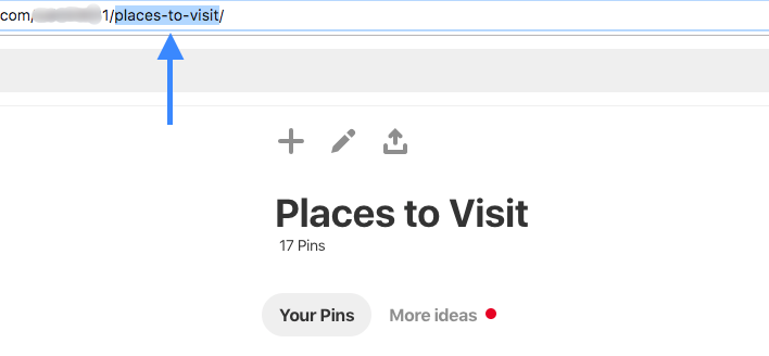Pinterest board name URL.