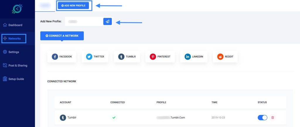 Social Booster Connected Networks for multiple profiles