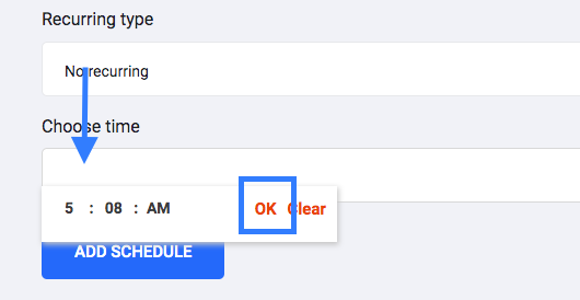 Selecting time for scheduling.