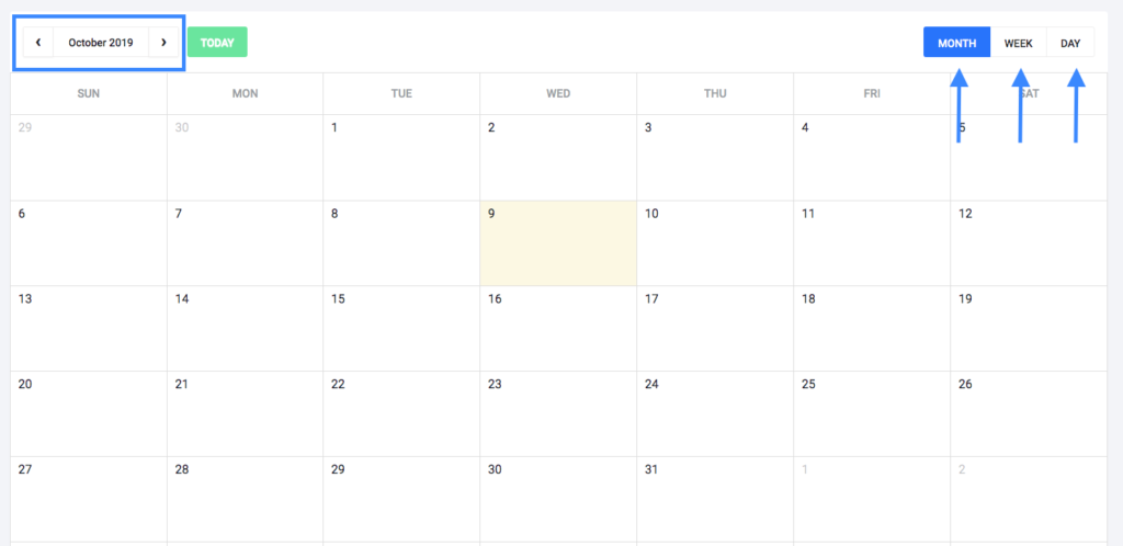 Calendar on Social Booster dashboard.