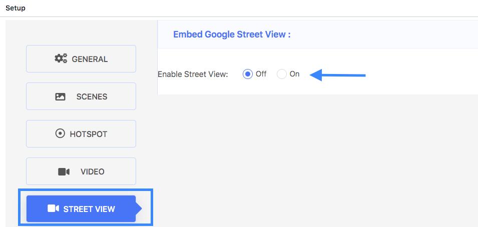 Turn on Street View option