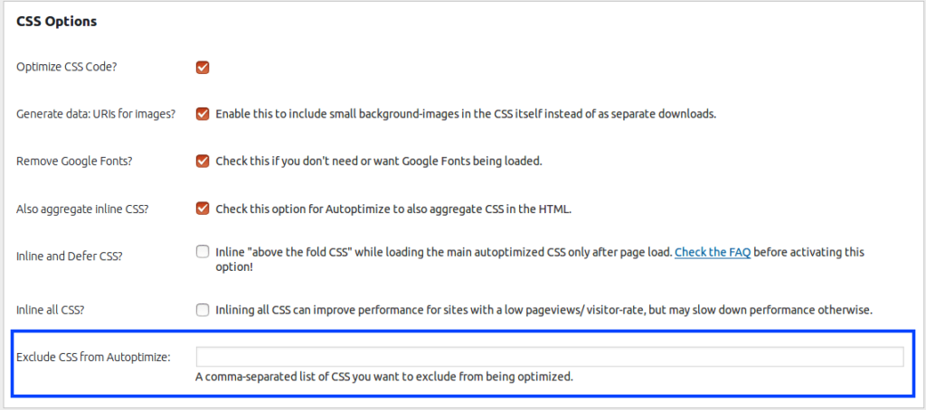CSS options exclude - Autoptimize