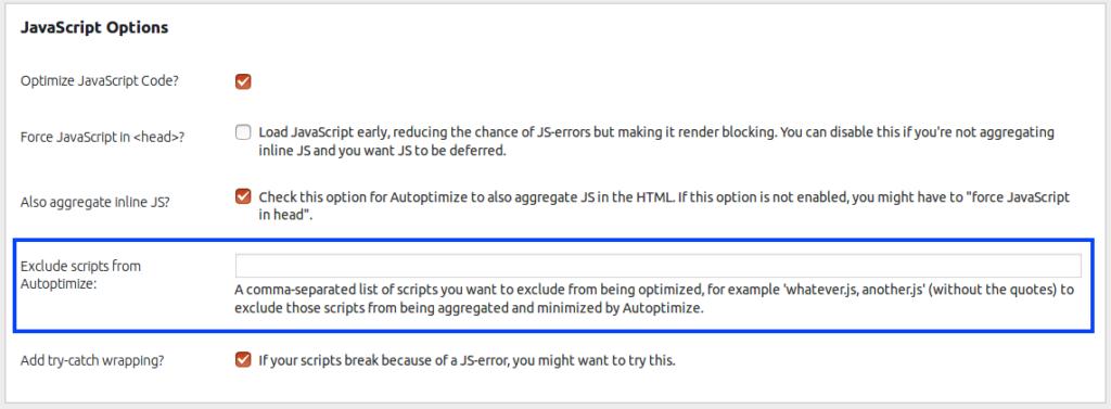 JS options exclude - Autoptimize