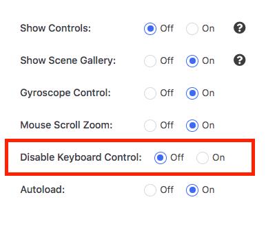 Turn On Keyboard Control Virtual Tour