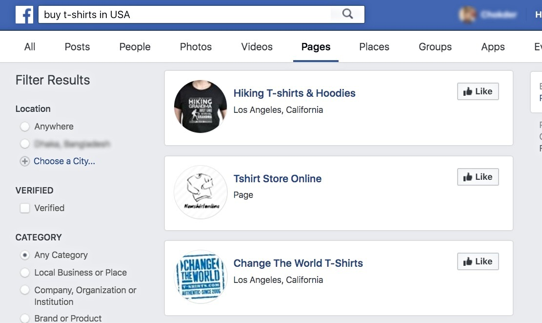 FB Search - t-shirt USA