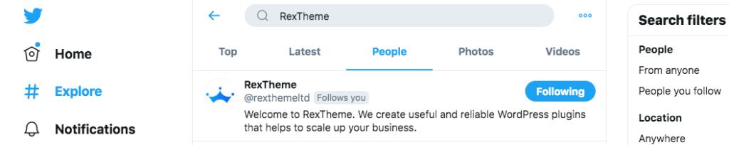 RexTheme on twit search