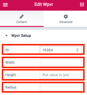 WPVR Elementor Widget Options