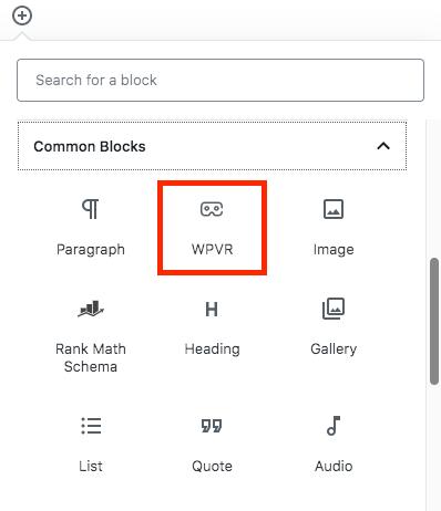WPVR Gutenberg Block