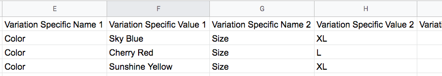 Variation Specific Values