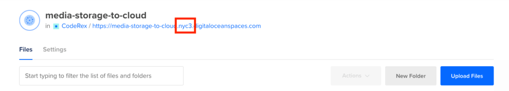 DigitalOcean Spaces Region