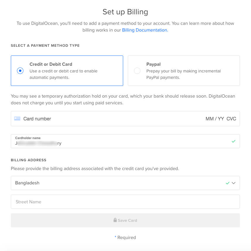 DigitalOcean Set Up Billing Information