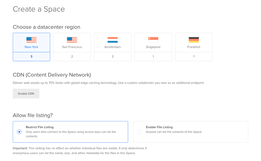 7. New DigitalOcean Space Settings