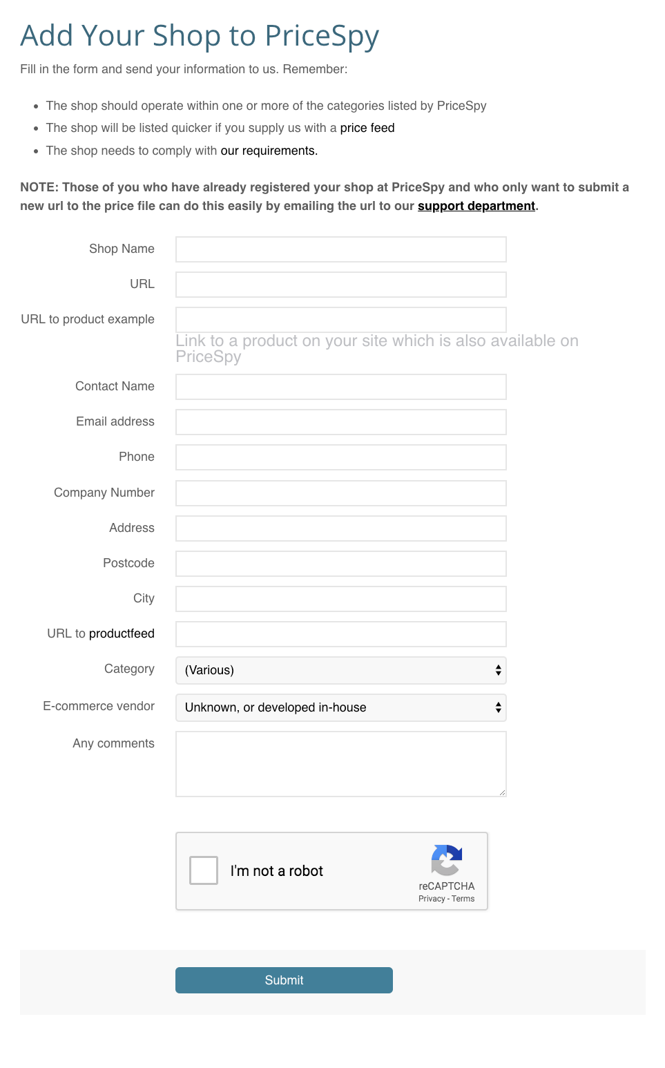 Pricespy registration form