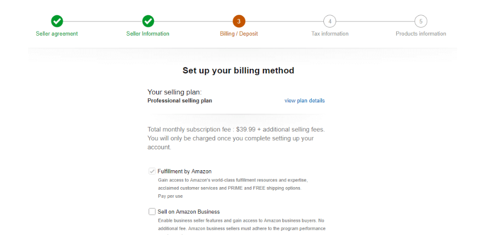 Billing Method for Amazon