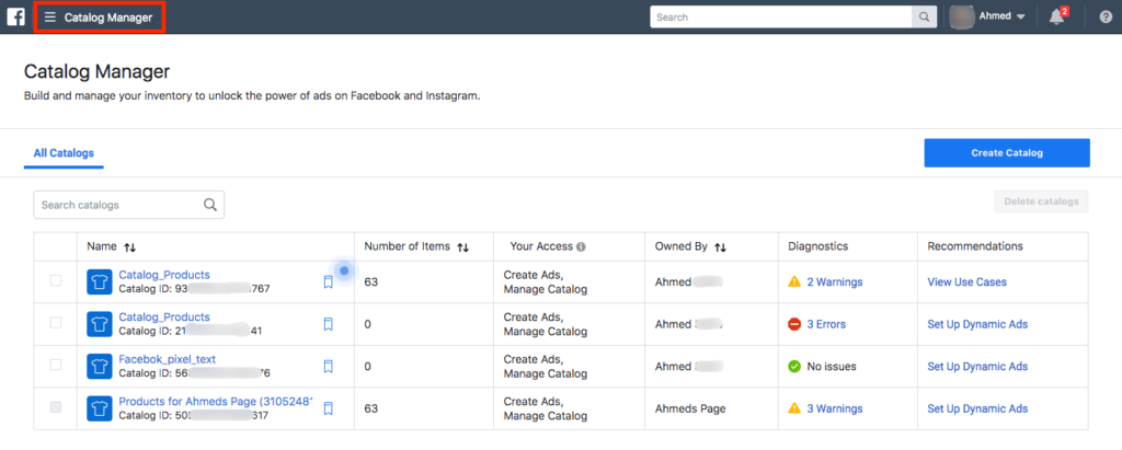 Facebook Catalog Manager Page