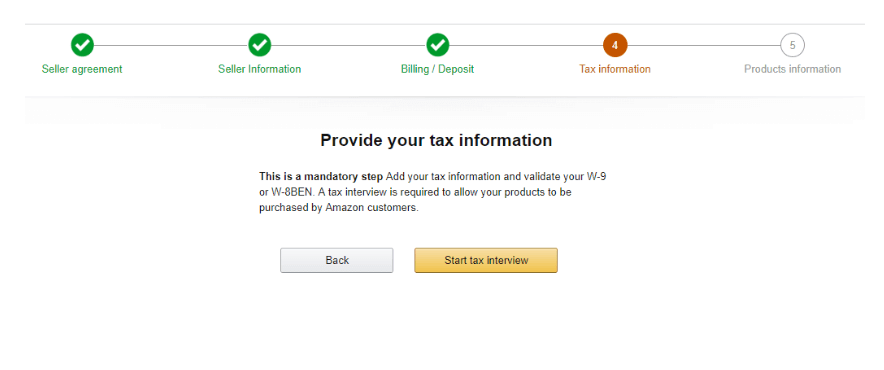 Tax Information Amazon Seller Central