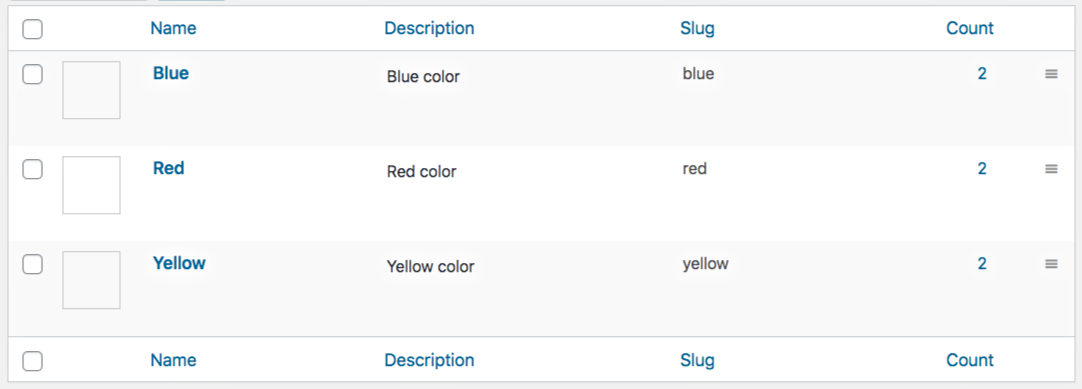 Color Variation Terms List