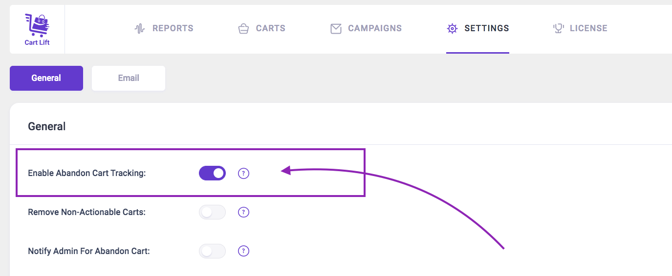 Enable option to track abandoned Carts automatically