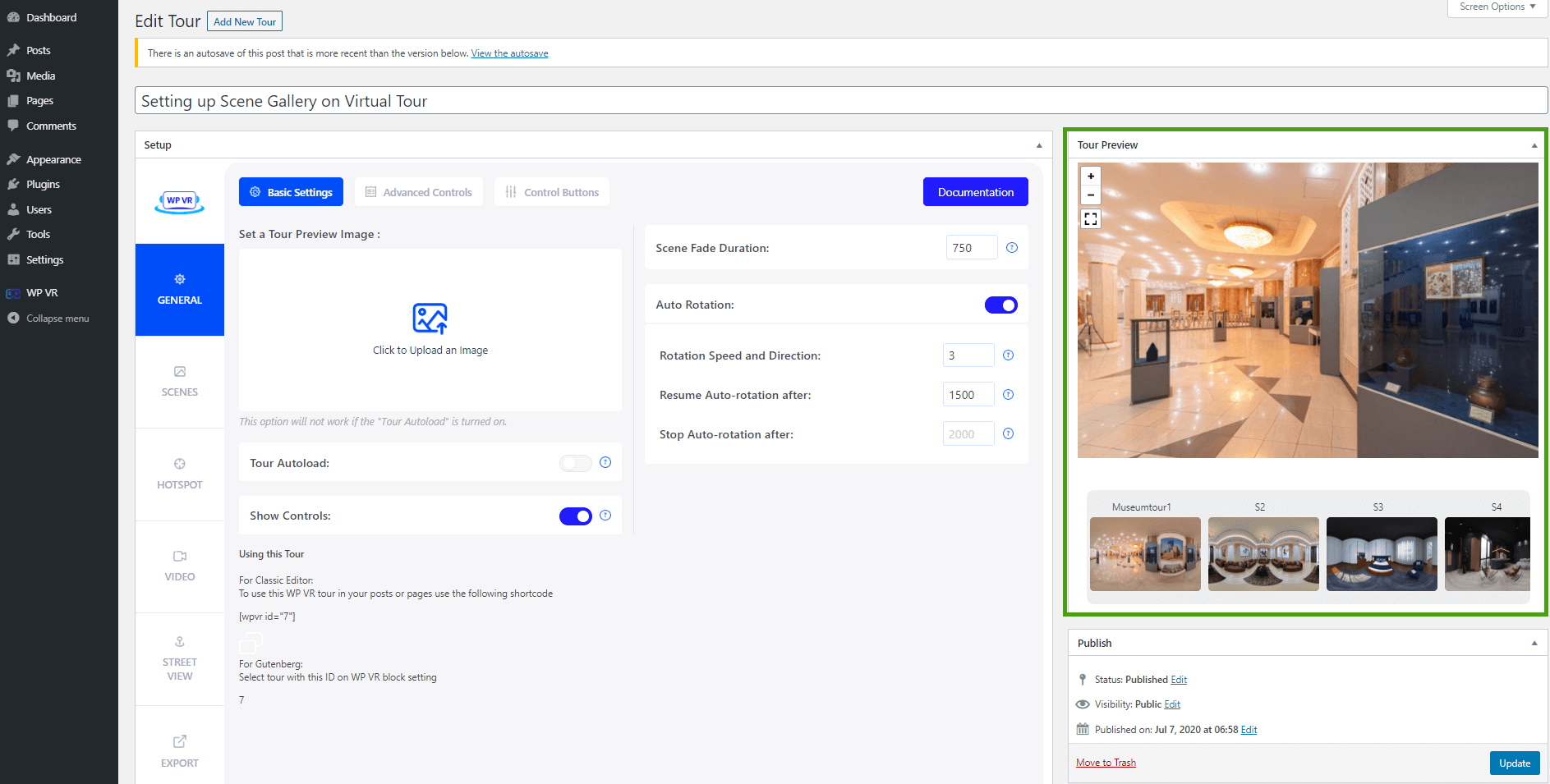 Backend preview scene gallery