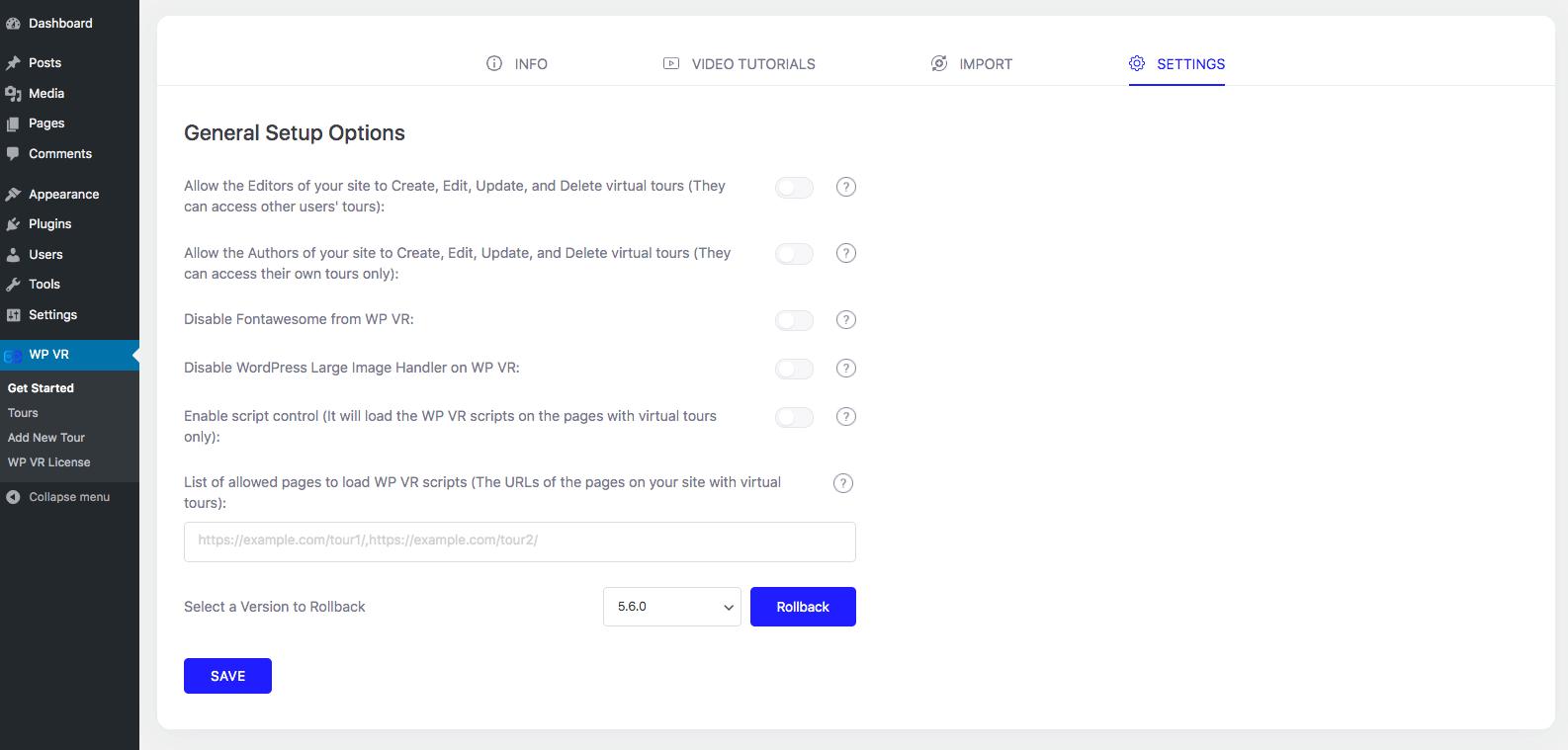WP VR General Setup Options