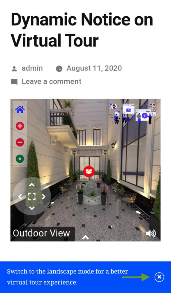 Dynamic Front End Notice on Virtual Tour