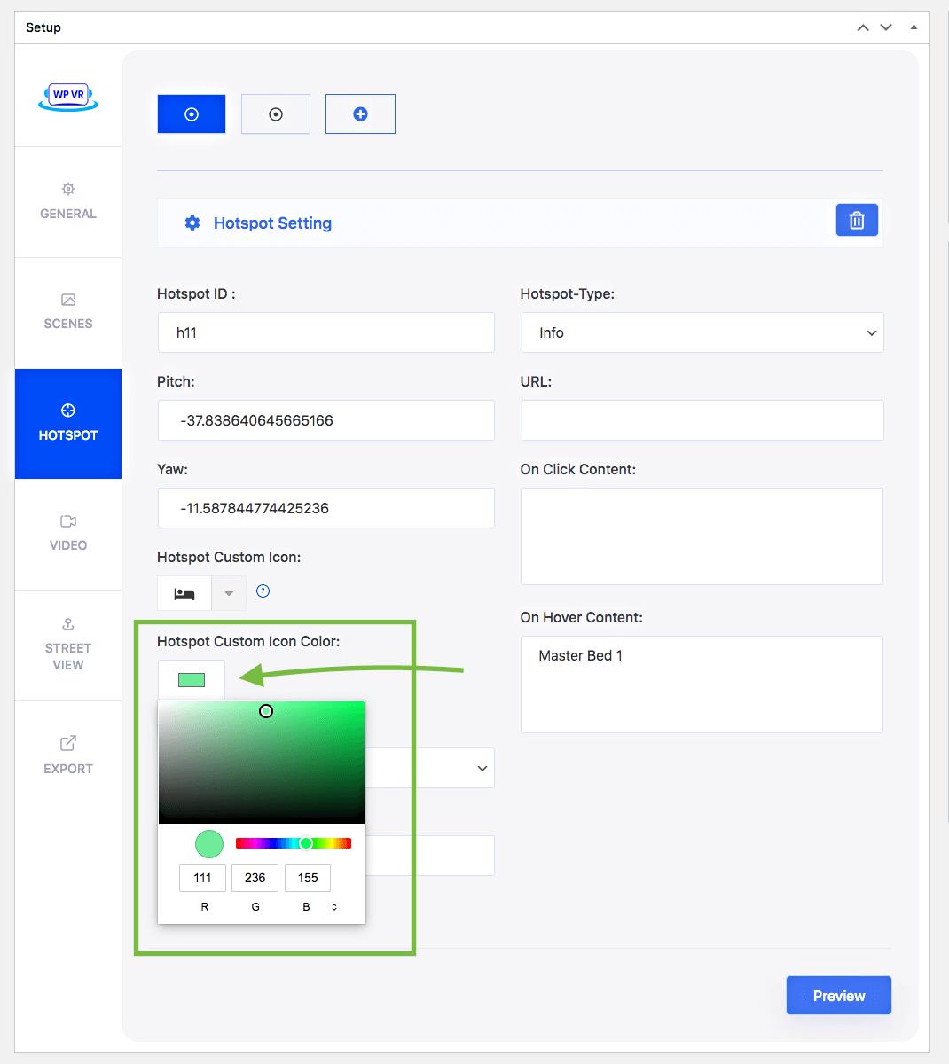 Custom hotspots icon color
