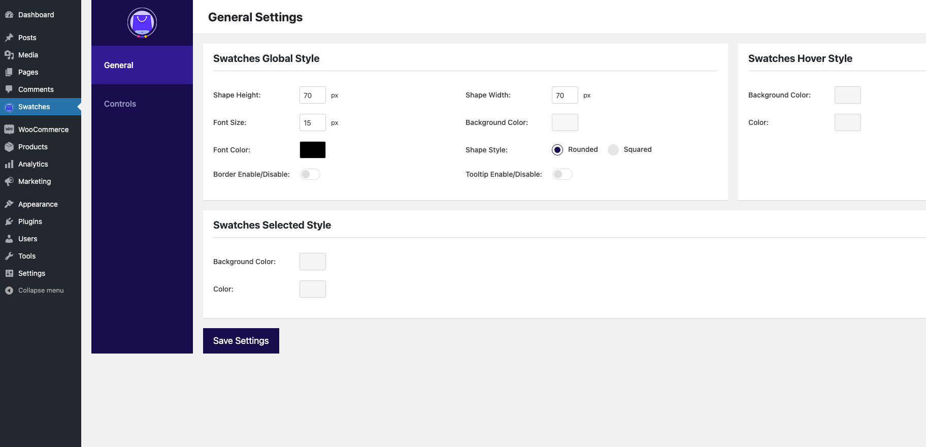 Variation Swatches for WooCommerce Dashboard