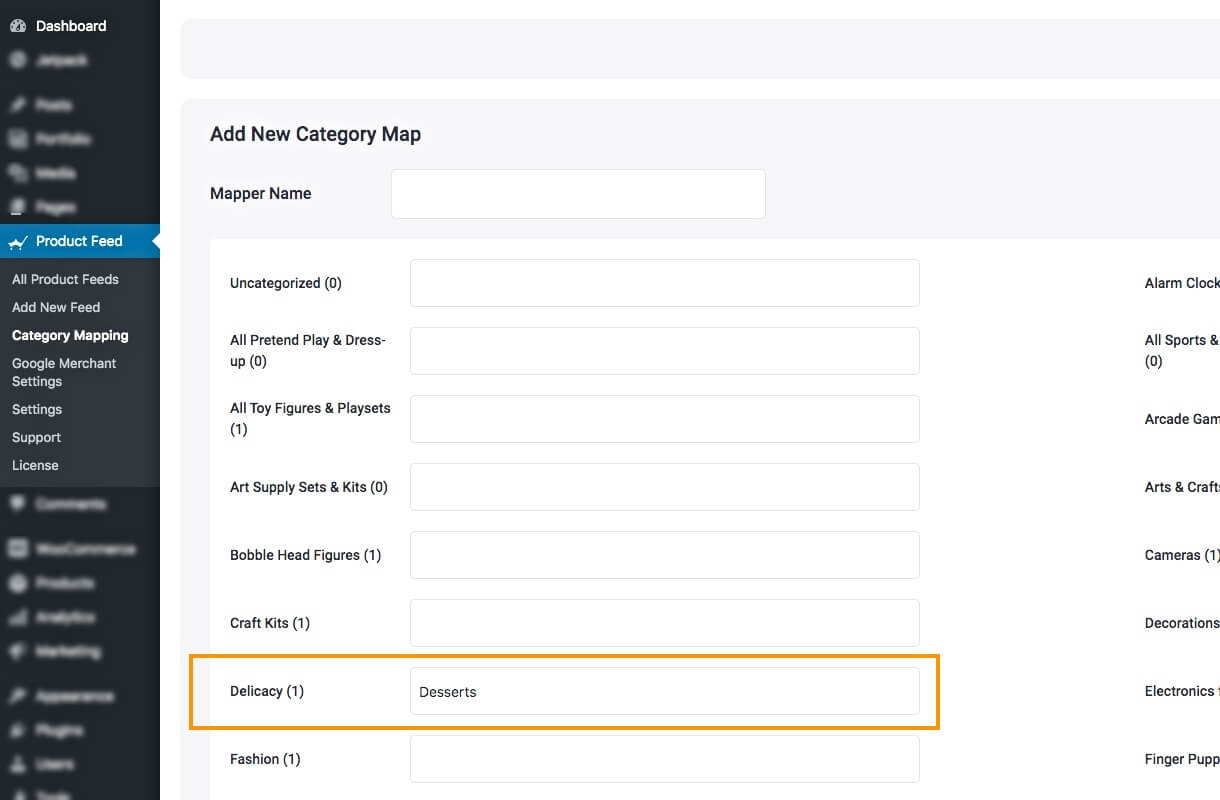 Mapper example for category