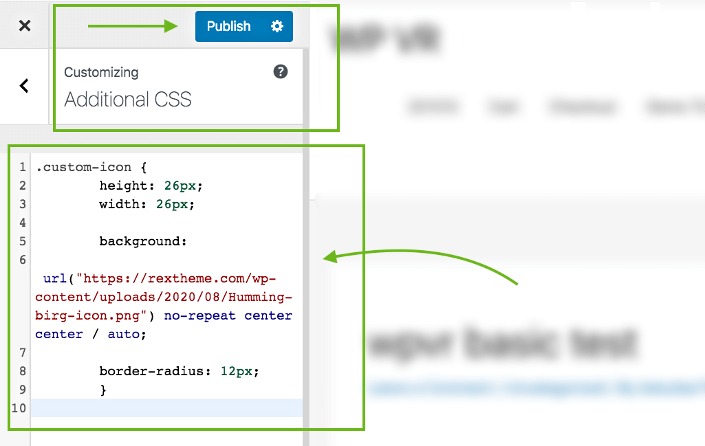 Paste code in Additional CSS