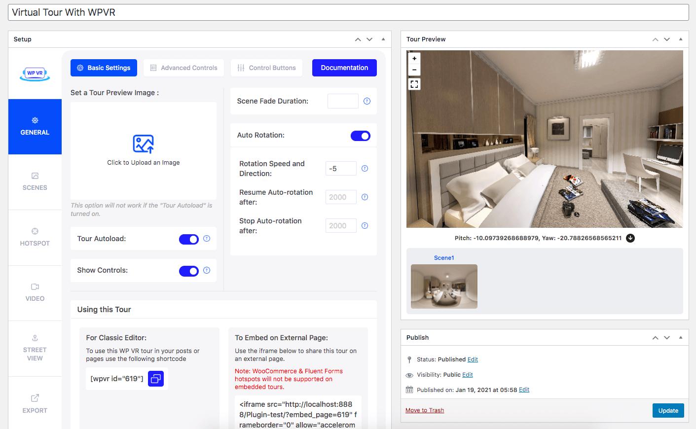 WP VR Basic Settings