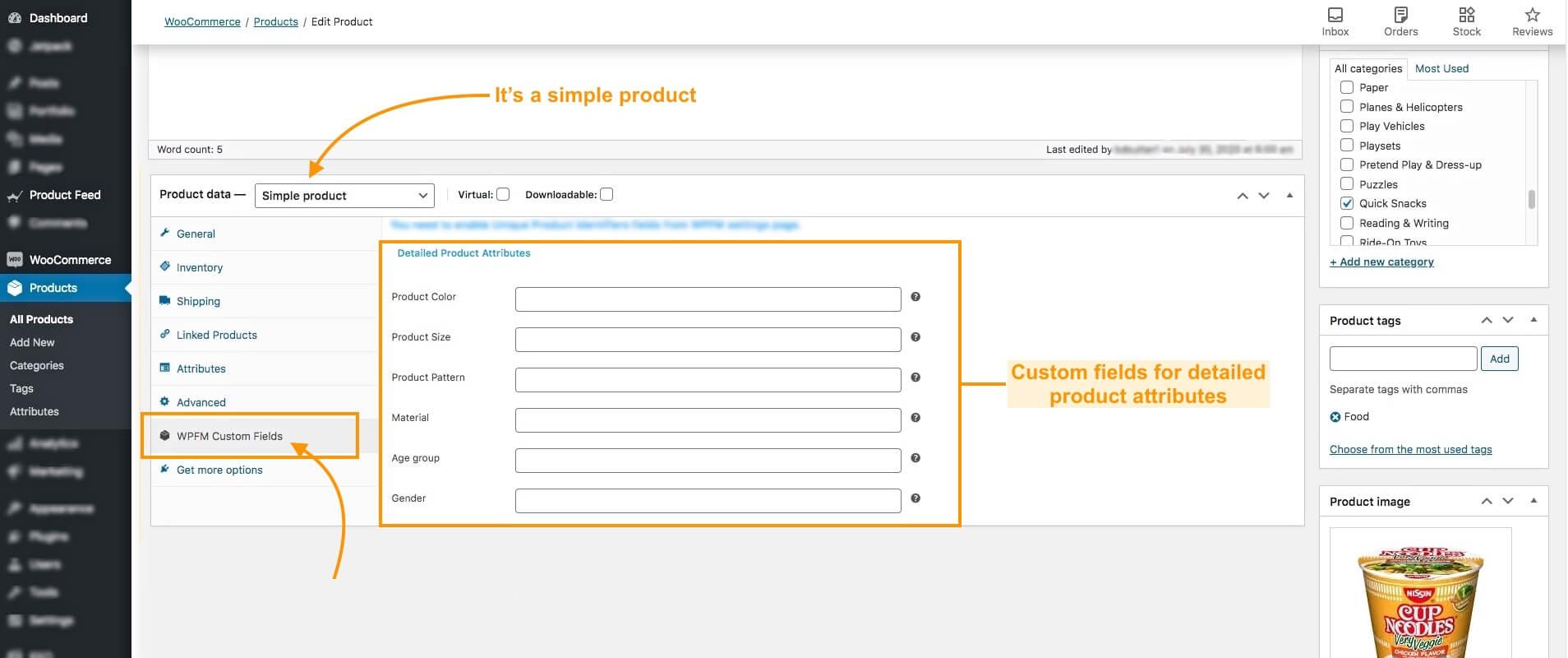 Product attributes custom fields simple