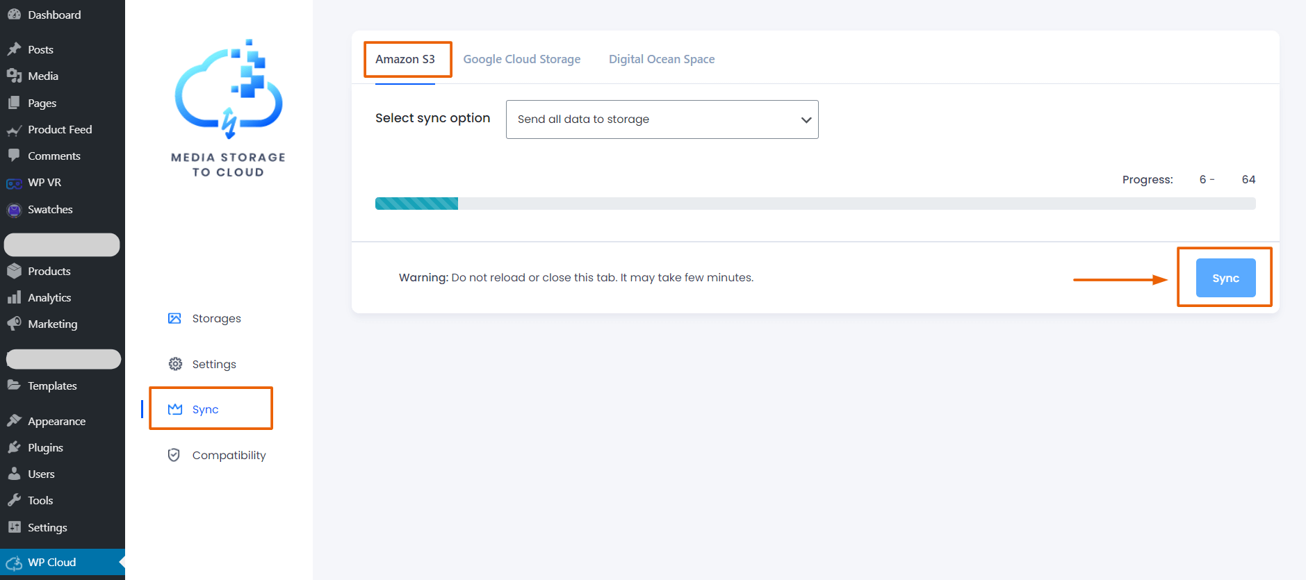 Media Storage to Cloud plugin sync