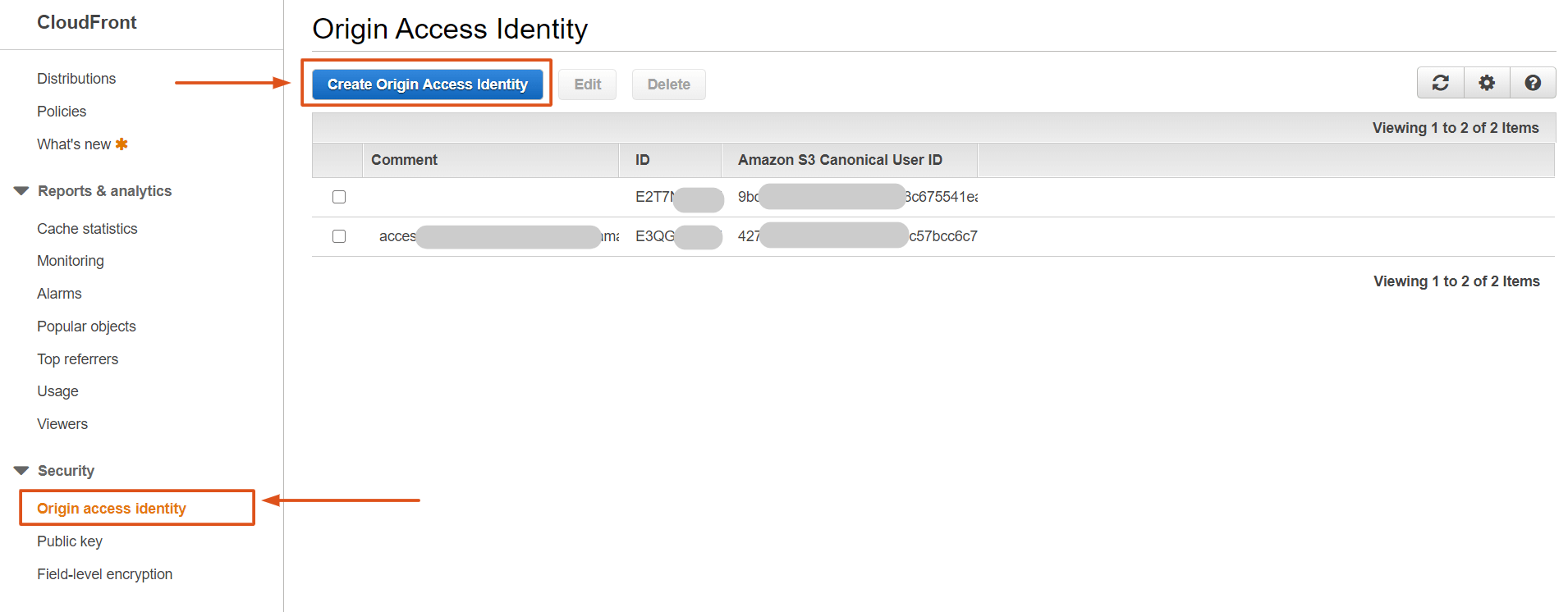 Amazon CloudFront Origin Access Identity