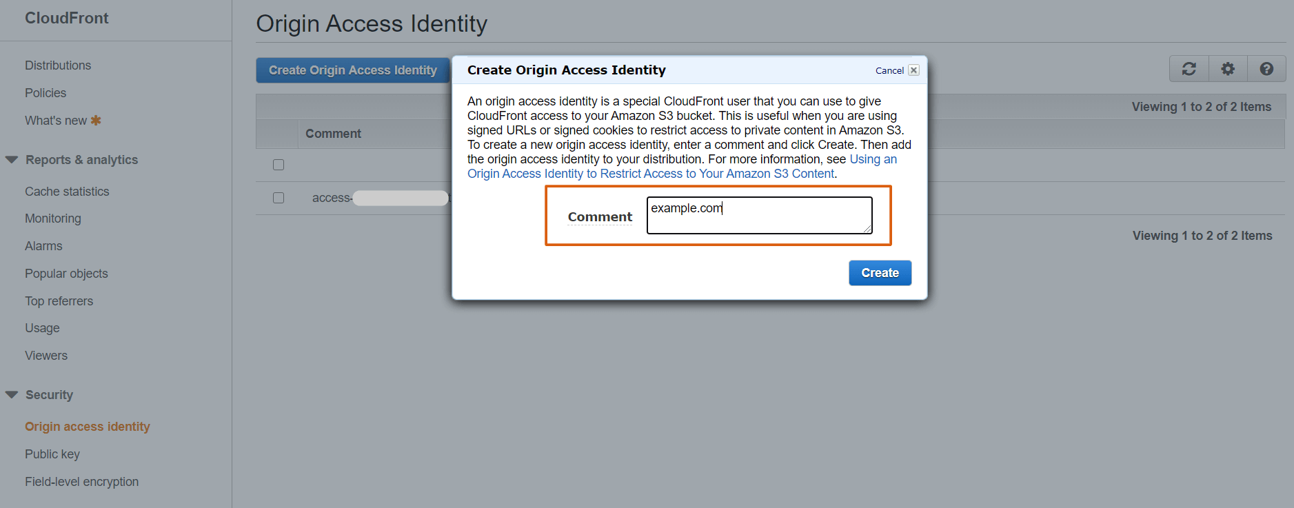 Create Amazon CloudFront Origin Access Identity
