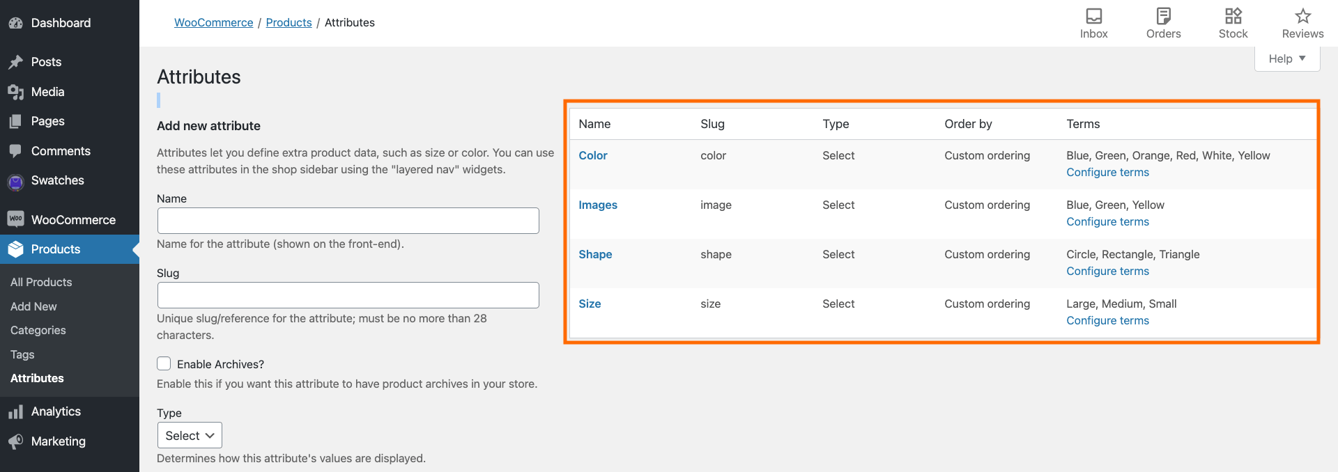 WooCommerce Attributes Page