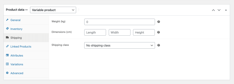 WooCommerce Product Shipping Data