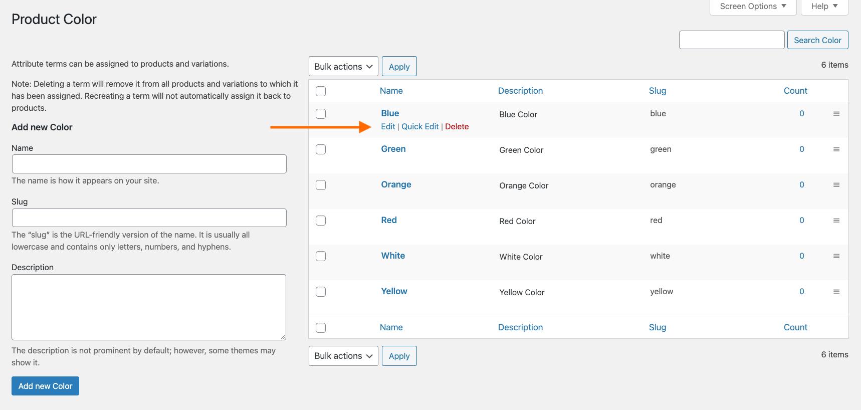 Edit Attributes Value